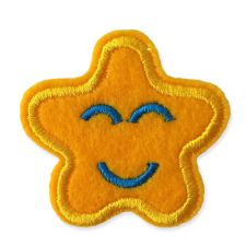YELLOW SMILING STAR MOTIF IRON ON EMBROIDERED PATCH APPLIQUE